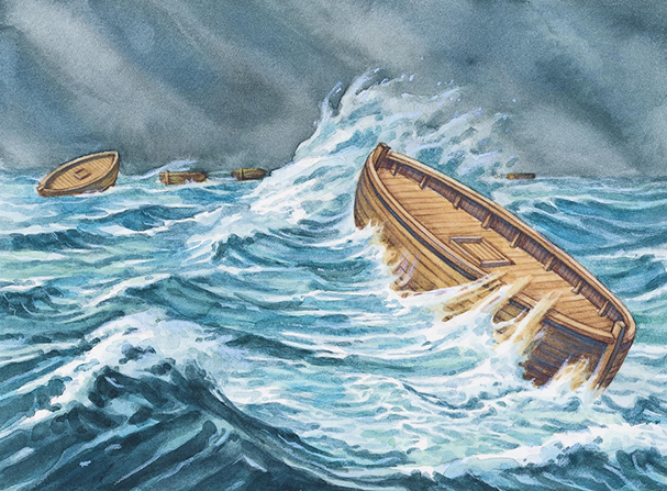 A painting by Robert T. Barrett showing the wooden Jaredite barges being tossed in the stormy sea.