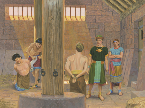 A painting by Jerry Thompson showing Alma and Amulek inside a prison, one tied to a wooden pole and the other kneeling and being hit by a guard.