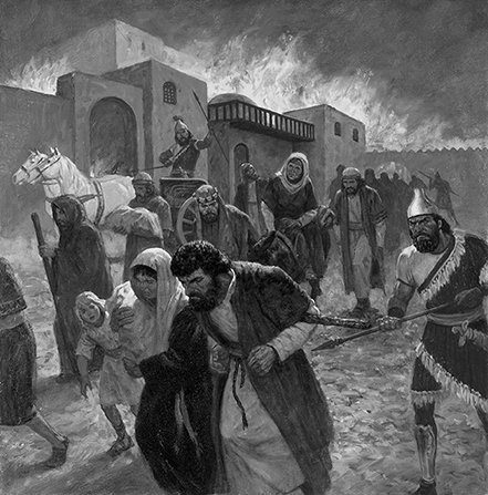A painting by Gary L. Kapp illustrating the destruction of Jerusalem by fire, with soldiers leading the people out of the city by force.