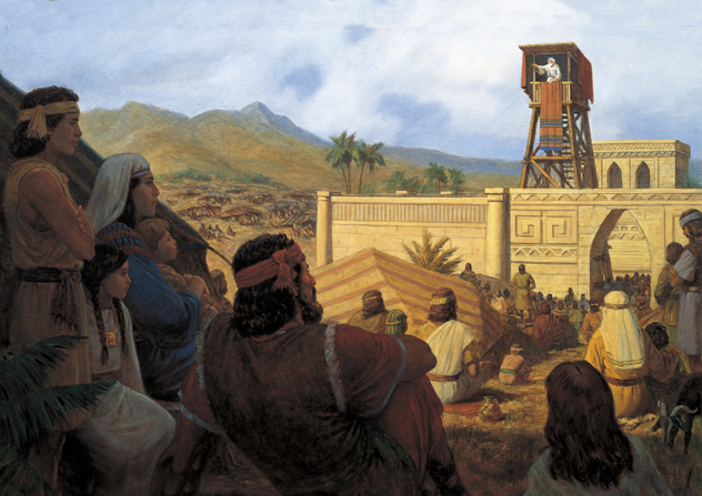A painting by Gary L. Kapp depicting King Benjamin standing on a tower within a temple complex, speaking to the Nephites gathered around.
