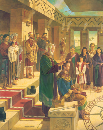 A painting by Robert T. Barrett of King Benjamin conferring the kingdom by placing outstretched hands on his son Mosiah's head, with a group of Nephites standing nearby.