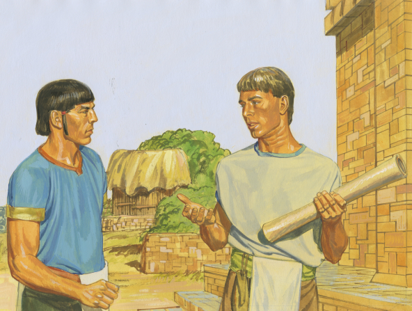 A painting by Jerry Thompson showing Alma holding a parchment roll and talking to Korihor while standing outside a stone building.