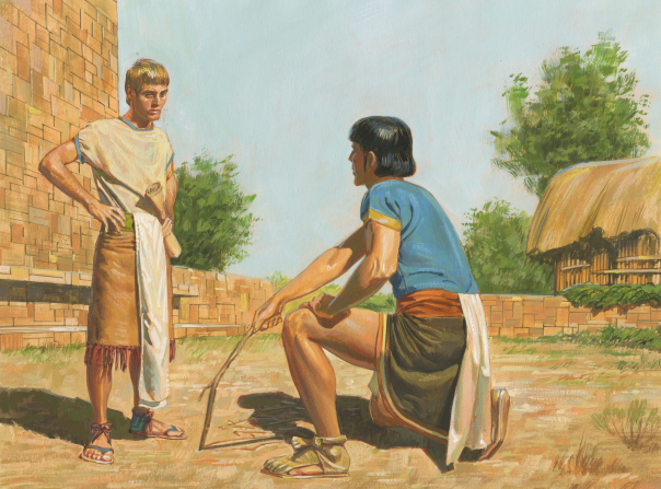 A painting by Jerry Thompson illustrating Korihor kneeling on the ground and writing with a stick in the dirt, proving to Alma that he knows there is a God.