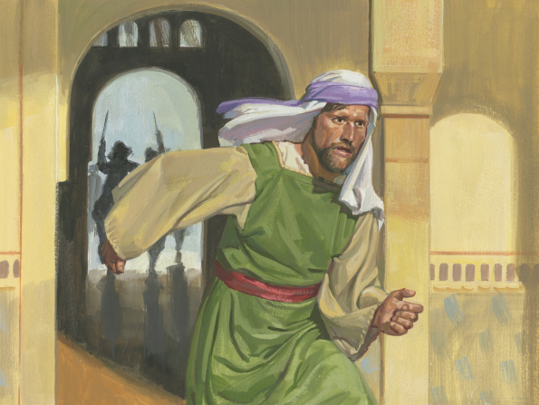A painting by Jerry Thompson showing Laman running in King Laban's house with two guards chasing behind him.