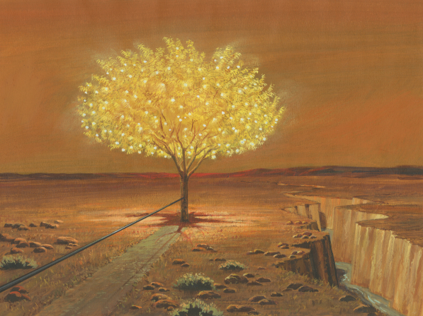 A painting by Jerry Thompson depicting an iron rod leading to an illuminating tree of life filled with fruit, with a river running through a deep ravine nearby.