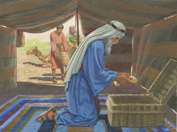 A painting by Jerry Thompson depicting Lehi kneeling on a rug in a tent and placing the brass plates inside an open basket.