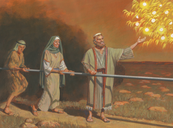 A painting by Jerry Thompson showing Lehi smiling and standing by the iron rod while reaching for a piece of fruit from the tree of life, with others close behind him.