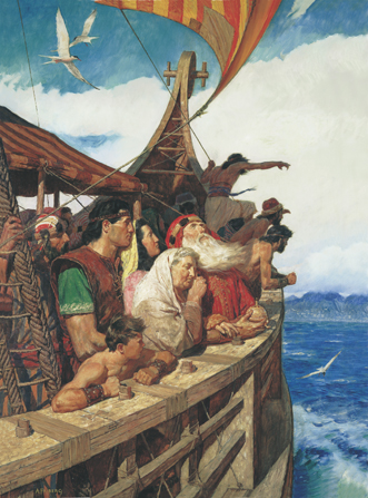 A painting by Arnold Friberg illustrating Lehi and his wife, Sariah, standing on a ship with their family members, who are looking and pointing at the shore of the promised land.