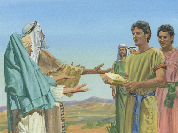 A painting by Jerry Thompson illustrating Lehi and Sariah with outstretched arms as Nephi returns, holding the brass plates, with his brothers.