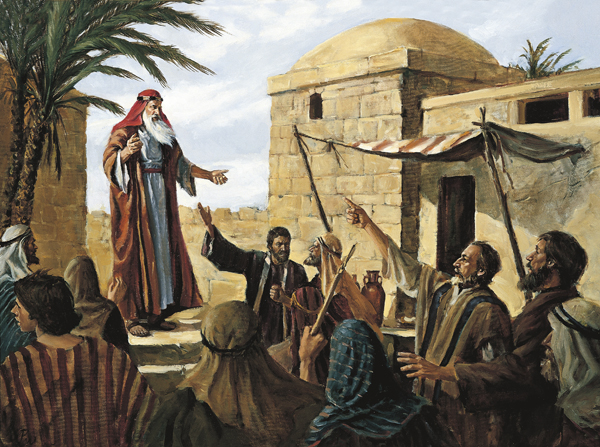 A painting by Del Parson showing a group of people mocking and pointing their fingers at Lehi, who is prophesying while standing near a palm tree.