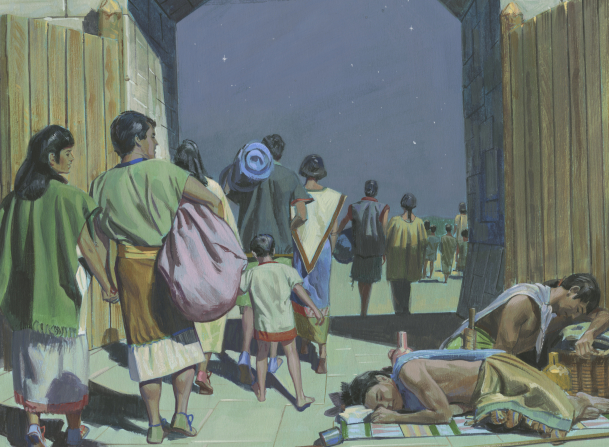 A painting by Jerry Thompson depicting the people of King Limhi carrying their belongings and walking out of the city gates at night past the sleeping guards.