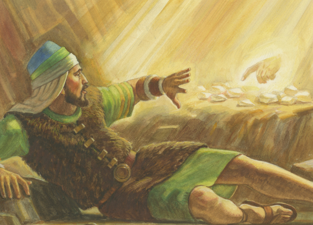 A painting by Robert T. Barrett depicting the brother of Jared lying on his side and shielding himself from the light illuminating from the stones and the Lord's finger.