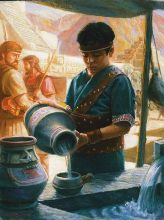 A painting by Scott M. Snow depicting Mormon at 10 years old pouring water from a pitcher, with two men in the background.