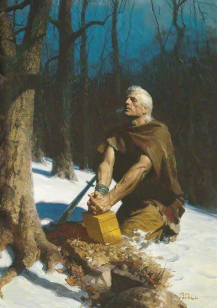A painting by Tom Lovell depicting Moroni kneeling on a snow-covered hill and resting his clasped hands on the gold plates near a hole by a tree trunk.