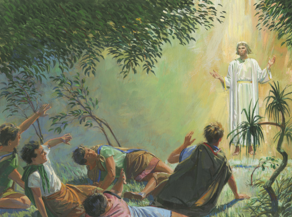 A painting by Jerry Thompson depicting Alma the younger and the sons of Mosiah on the ground, shielding their eyes from an angel.