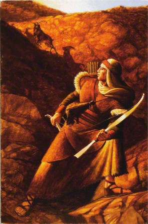 A painting by Michael Jarvis Nelson of Nephi standing on large rocks and holding his broken bow while looking back at rams running up a hill.