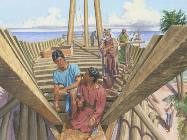 A painting by Jerry Thompson depicting the people of Nephi on the base of a wooden ship, carrying wooden poles and using tools to build the ship.