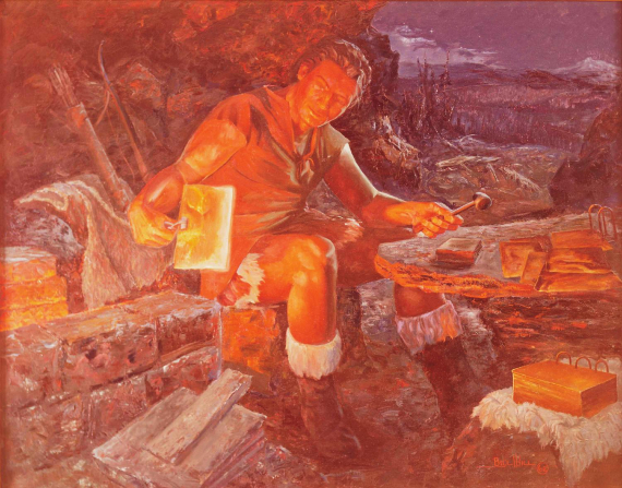 A painting by Bill L. Hill showing Nephi in leather and skins sitting on a rock by a forge while working on gold plates with a hammer and tongs.