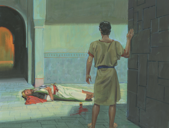 A painting by Jerry Thompson of Nephi standing and looking at King Laban drunken and lying still on the ground next to a cup of spilled wine.