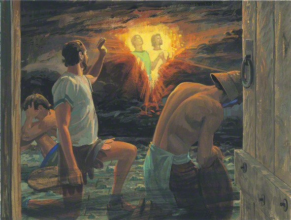 A painting by Jerry Thompson of a Nephite man seeing the faces of Nephi and Lehi shining in the darkness that surrounds them.