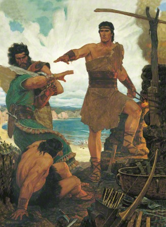 A painting by Arnold Friberg depicting Nephi standing near a stone fireplace with one arm outstretched, rebuking his brothers.