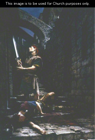 A painting by Walter Rane depicting Nephi standing by Laban, who lies drunken on the dark street, and holding Laban's sword.