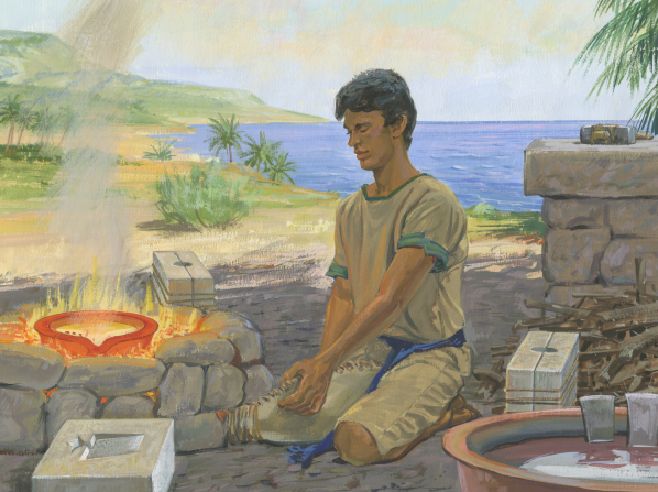 A painting by Jerry Thompson illustrating Nephi kneeling on the ground and preparing tools by a fire pit near the seashore.