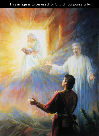 A painting by Judith A. Mehr of Nephi looking up and seeing a vision of an angel and the Virgin Mary holding Jesus Christ as an infant.