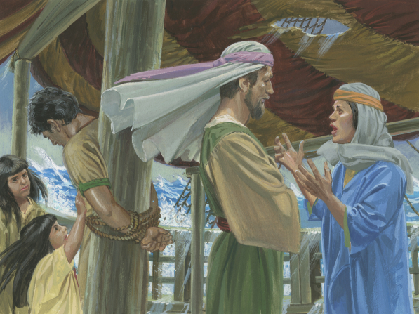 A painting by Jerry Thompson showing Nephi standing and tied with thick rope to a pole while his wife pleads with his older brother to untie him.