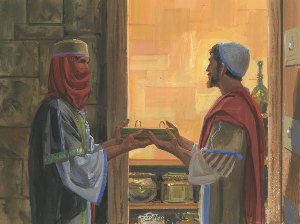 A painting by Jerry Thompson illustrating Zoram handing the brass plates to Nephi, who is dressed in King Laban's clothes with a red cloth covering his face.