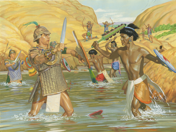 A painting by Jerry Thompson depicting Captain Moroni's soldiers with shields, swords, breastplates, and helmets fighting the Lamanites in a river surrounded by large rocks.