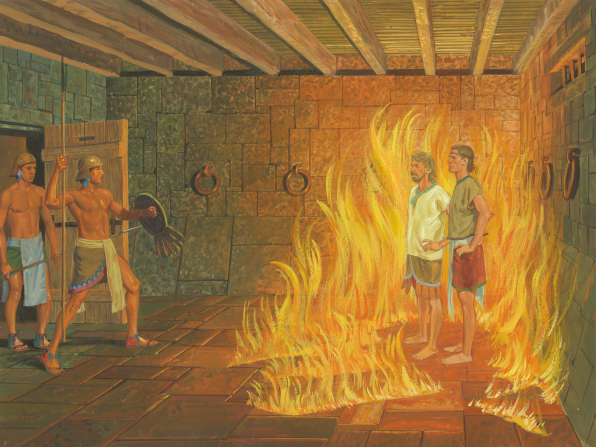 A painting by Jerry Thompson depicting Nephi and Lehi standing encircled with fire in prison, with a guard walking in the doorway.