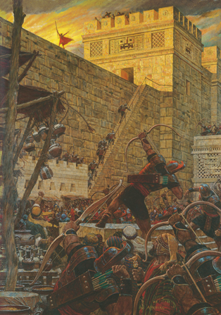 A painting by Arnold Friberg illustrating Samuel the Lamanite standing on a stone wall while Nephites attempt to kill him by shooting arrows.