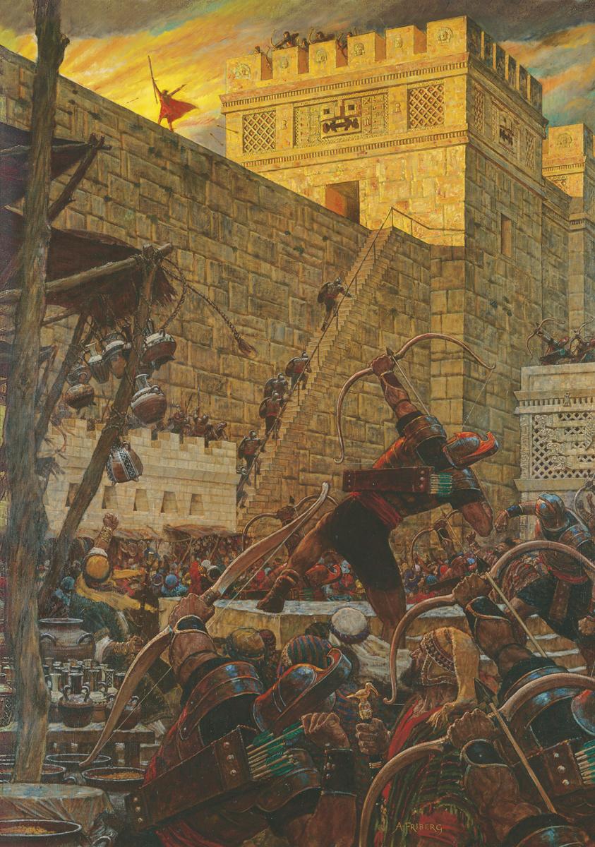 Samuel der Lamanit predigt den Nephiten von der Stadtmauer.