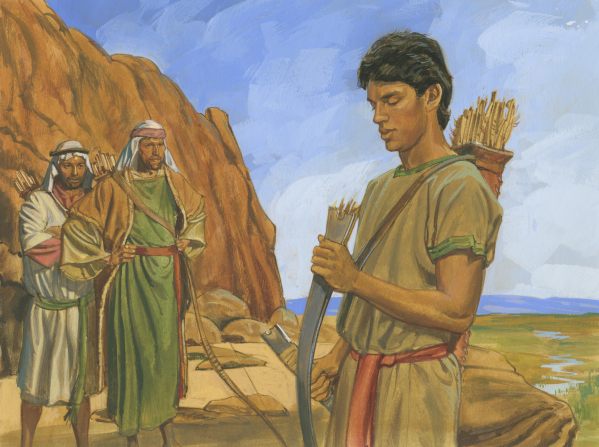 A painting by Jerry Thompson of Nephi standing and looking down at his broken bow, with his brothers watching from a distance.