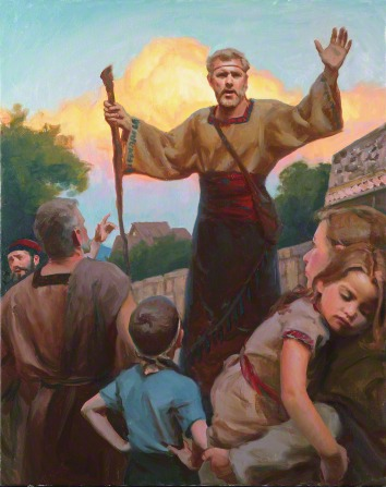 A painting by Michael T. Malm depicting Alma standing and holding a wooden staff while preaching to a group of people.