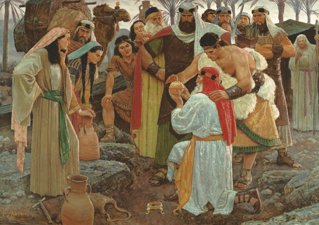 A painting by Arnold Friberg depicting Lehi kneeling on the ground and holding the Liahona, with Nephi and their family gathered around.