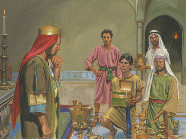 A painting by Jerry Thompson depicting Lehi's four sons kneeling and standing while offering their riches to Laban, who rests his chin on a clasped hand.