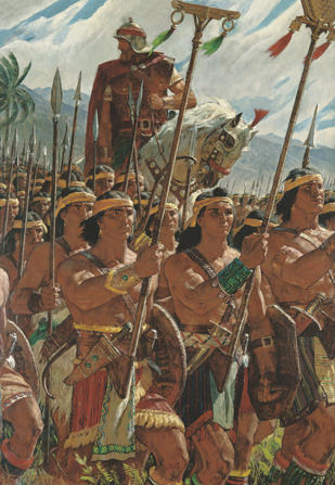A painting by Arnold Friberg of Helaman riding a white horse while leading an army of 2,000 young Lamanite warriors marching and carrying spears.