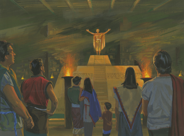 A painting by Jerry Thompson illustrating a Zoramite standing and speaking with outstretched arms on top of the gold Rameumptom surrounded by torches of fire.