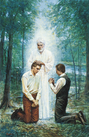 A painting by Del Parson of John the Baptist as an angel standing and conferring the Aaronic Priesthood on Joseph Smith, who is kneeling next to Oliver Cowdery.