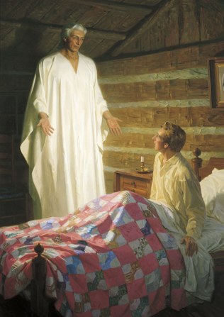 A painting by Tom Lovell depicting Joseph Smith sitting up in his bed under a patchwork quilt and seeing the angel Moroni in a white robe with his arms reaching out.