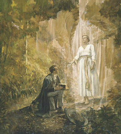 A painting by Kenneth Riley of Joseph Smith down on one knee in a grove of trees and holding the gold plates as he looks up at the angel Moroni.