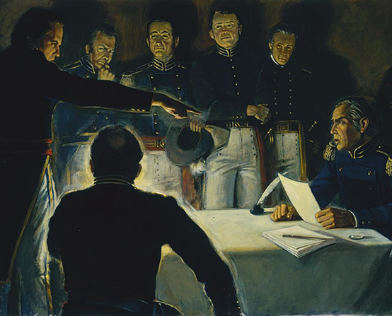 A painting by Robert T. Barrett showing Alexander Doniphan standing and pointing his finger at General Samuel D. Lucas, with several men in military uniforms gathered around.