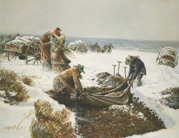 A painting by Clark Kelley Price depicting two members from the Martin handcart company laying one of their dead into a grave surrounded by snow.