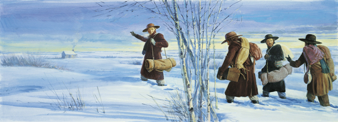 A painting by Robert T. Barrett showing four missionaries with coats, hats, blanket rolls, and baggage walking through knee-deep snow toward a cabin seen in the distance.