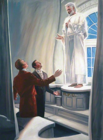 A painting by Dan Lewis showing Elijah in a white robe, standing by a window inside the Kirtland Temple and talking to Joseph Smith and Oliver Cowdery.