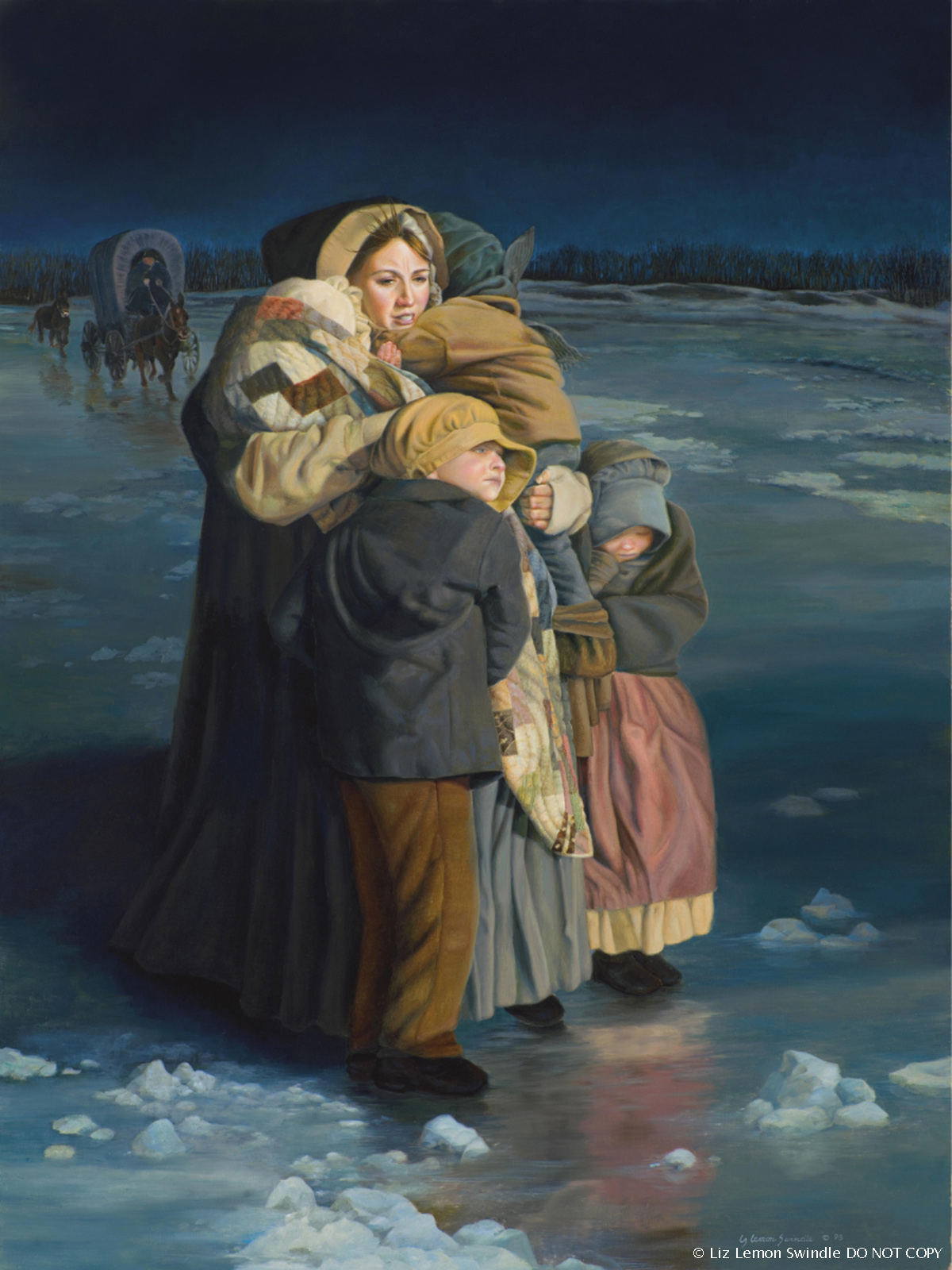 A painting by Liz Lemon Swindle of Emma Hale Smith holding her children close to her as they cross the frozen Mississippi River.