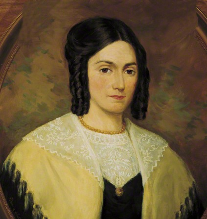A portrait by Lee Greene Richards of Emma Hale Smith with black curls close to her face, wearing a black and yellow dress with lace.