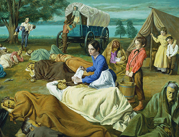 A painting by Theodore S. Gorka of Emma Smith kneeling on the ground and assisting a man who is sick while many others who are sick are gathered around.